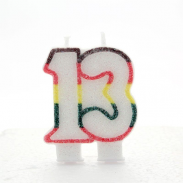 Number 13 Birthday Candle Rainbow Colored