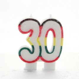 Multicoloured Glitter Number  30  Candle