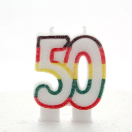 Multicoloured Glitter Number  50  Candle