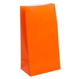 ORANGE SOLID COLOUR PAPER PARTY BAGS - pack of 12