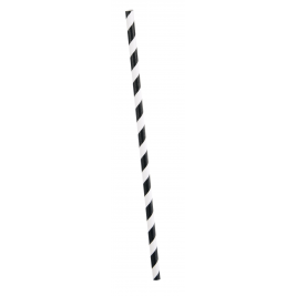 MIDNIGHT  BLACK PAPER  PARTY  STRAWS   STRIPES - PACK OF 10