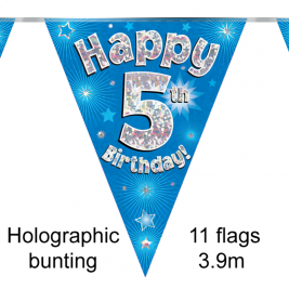 Party Bunting Happy 5th Birthday Blue Holographic 11 flags 3.9m