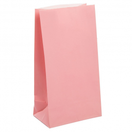 PASTEL PINK SOLID COLOUR PAPER PARTY BAGS - pack of 12