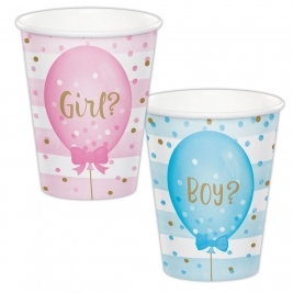 Gender Reveal Balloons Hot/Cold Cup 9Oz Pack of 8