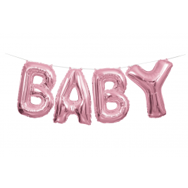 Unique  Foil Pink Baby Letter Balloon Banner Kit -