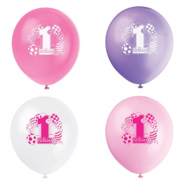 First Birthday Balloons Pink BALLOONS PRINTED 1 SIDE 12