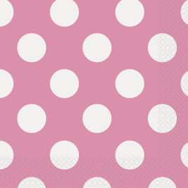 Pink Polka Dots   Luncheon Napkins  - Pack of 16