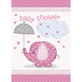 Umbrellaphants Pink Baby Shower INVITATIONS - Pack of 8