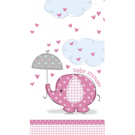 Umbrellaphants Pink Baby Shower PLASTIC TABLECOVER 54