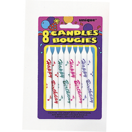 PRINTED BIRTHDAY CANDLES ASSORTED COLOURS - pack of 8