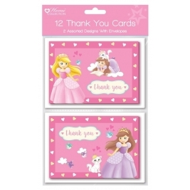 Pack of 12 Princess Thank you cards  Greeting Cards  2 Assorted designss