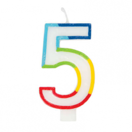 Rainbow Border Number 5 Birthday Candle