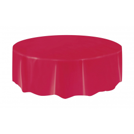 RUBY RED   ROUND PLASTIC TABLECOVERS 84