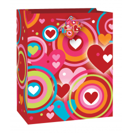 RETRO HEARTS  LARGE GLOSSY GIFT BAG