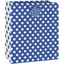 ROYAL BLUE DOTS MEDIUM GLOSSY GIFT BAG 9
