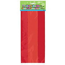 RUBY RED SOLID COLOUR CELLO BAGS - pack of 30