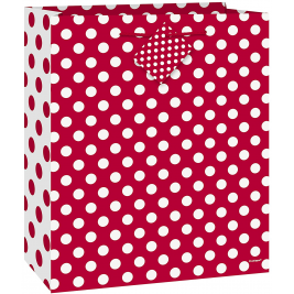 RUBY RED DOTS MEDIUM GLOSSY GIFT BAG 9