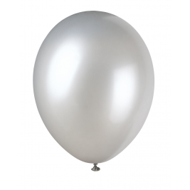 SHIMMERING SILVER Pearlised balloons 12
