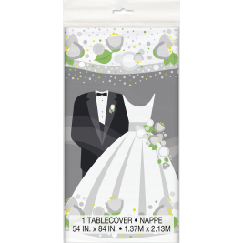1 PLASTIC TABLECOVER SILVER WEDDING 54