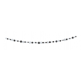BLACK & SILVER DOTS PAPER GARLAND banner