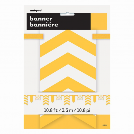 Sunflower Yellow Dots, Stripes & Chevron Paper Pennat Banner