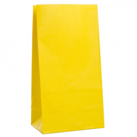 SUNNY YELLOW SOLID COLOUR PAPER PARTY BAGS - pack of 12