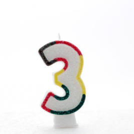 Pack of 6 Multi Coloured Number 3 Candle
