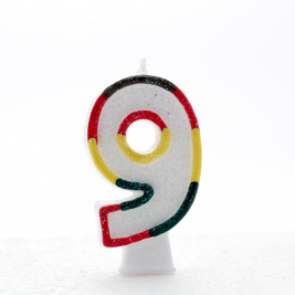 Pack of 6 Multi Coloured Number 9 Candle