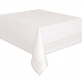 Plastic Lined White Paper Tablecloth, 9ft x 4.5ft