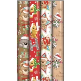 Xmas Teddy bear Wrap Pack of 4 rolls each 5M in Assorted designs