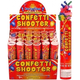 20cm Confetti Shooter Party Time. Pack of 12 Shooters